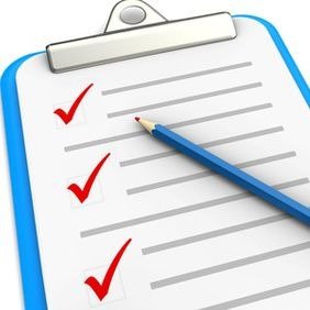 Checklist with pencil on white background, 3d image